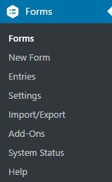 Forms Section Expands to Show Gravity Forms Section