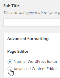 Choose Advanced Content Editor