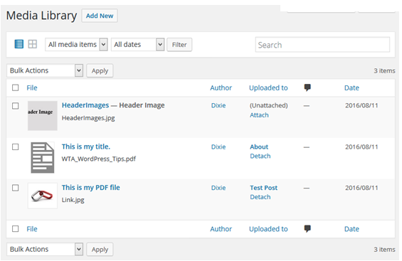 Media Library List View